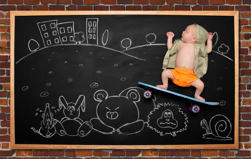 infant blackboard photography San Jose